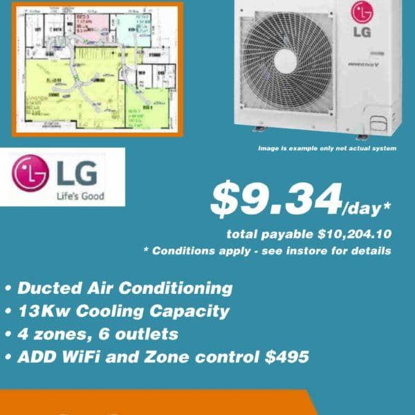LG Ducted 36 Months on Certegy EZI PAY $9 34 per day